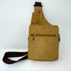 Travelon Crossbody Faux Leather Purse Tan